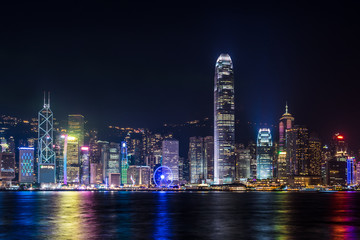 Nightview of Victoria Harbour in Hong Kong (香港 ビクトリアハーバー夜景)