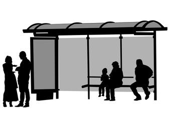 Wall Mural - People at bus stop on white background