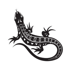 Black lizards, tattoo, vector  illustration.