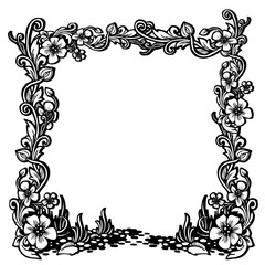 Black and white vintage frame with floral pattern.