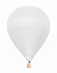 White hot air balloon with basket isolated on white background