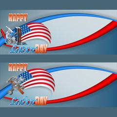 Set of web banners with wrench, hammer and gears, 3d text, microscope and books on national colors  for American, Labor Day, event