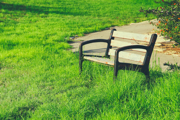 Old lonely bench at the quiet park