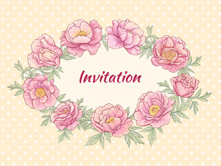 peonies frame on color background