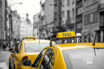 Yellow Taxi cars on the street