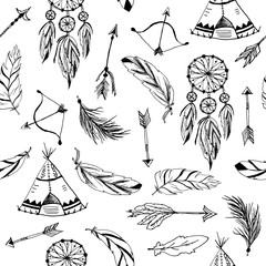 Seamless pattern with tribal, indian elements