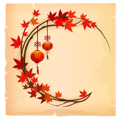 Chinese background with lantern and maple leaves. Foliage frame.