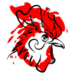 Cockerel symbol of the new year on a white background vector