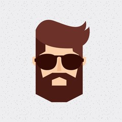head man hipster style isolated icon