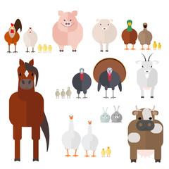 Farm animals set of farm animals and birds , the vector