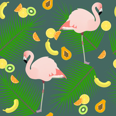Seamless texture , flamingos ion a pink background  and fruits , vector