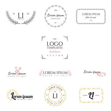 Set of hand drawn logo templates