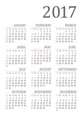 Vector pocket 2017 year calendar