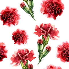 Seamless pattern with watercolor carnation flowers