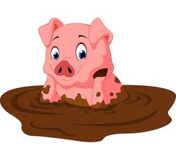 Cartoon funny pig sitting