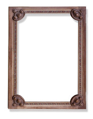 old wooden frame on white
