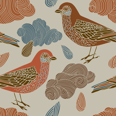 pattern with birds and clouds