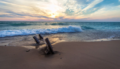 Coastal Lake Michigan Sunset. Sunset on the wide sandy beaches of Lake Michigan in the Lower Peninsula of Michigan.