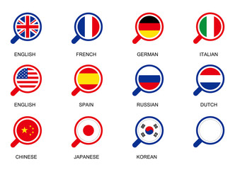 magnifying glass flag icon