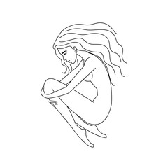 The girl with long black hair lying on the floor. Psychology concept, melancholy, depression, mind. Outline freehand drawing vector illustration