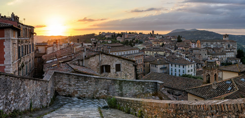 Perugia (Umbria) panorama from Porta Sole at sunset