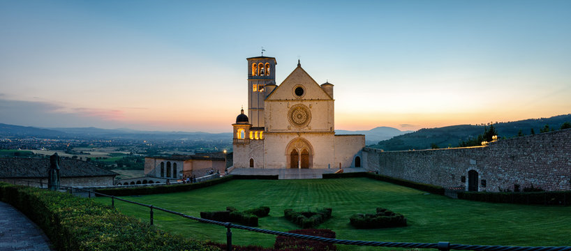 Assisi (Umbria) Basilica di San Francesco at sunset