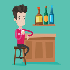 Man sitting at the bar counter vector illustration