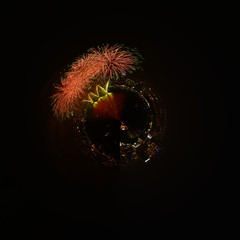Beautiful firework and city in rounded sharp on dark sky backgro