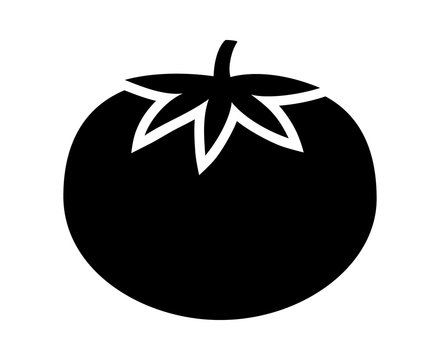 Tomato with leaves flat icon for food apps and websites