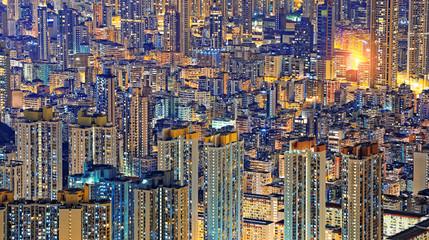 Hong Kong Public living downtown at night