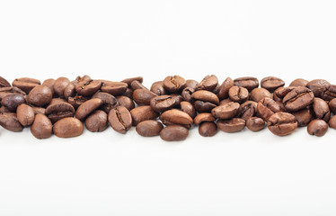 Coffee beans stripe on white background