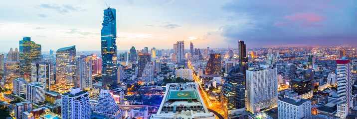 Panorama bangkok city at sunset in the business district area