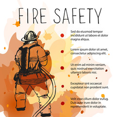Template of fire safety vector placard.