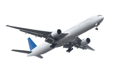 Commercial airplane on white background with clipping path Wall mural
