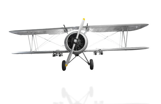 Old fighter plane isolated on white background with clipping pat