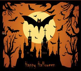 Happy Halloween background with Happy Halloween sentence