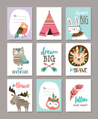 Set of cute tribal animals cards
