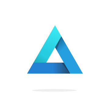 Triangle logo with strict strong corners vector isolated on white background, blue gradient glossy abstract triangle logotype element with shadow, creative geometric figure design