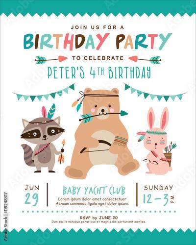 Kids Birthday Invitation Card With Cute Tribal Animal Stock Image