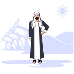 Arab sheikh against the background of oil production