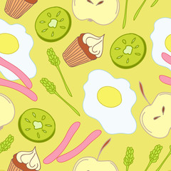 Seamless pattern with cute breakfast food