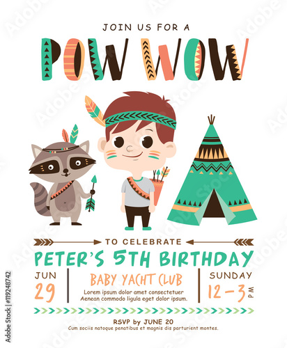 Kids birthday invitation card with cute little boy and raccoon kids birthday invitation card with cute little boy and raccoon stopboris Choice Image
