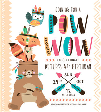Kids birthday party invitation card with tribal animals