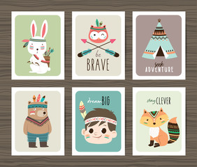 Set of creative cards templates with tribal cartoon animals and quotes