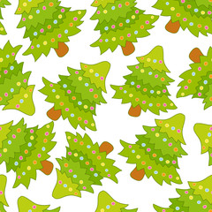 Seamless pattern with Cute Christmas tree