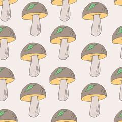 Seamless pattern with mushrooms set