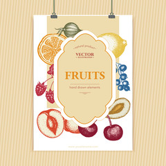 Fruits and berries vintage poster design ink sketch