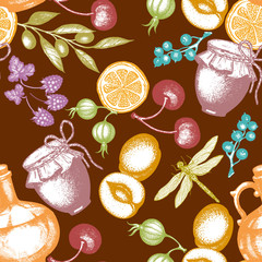 Harvest time seamless pattern berry fruit olives dragonfly