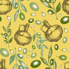 Olive seamless pattern oil bottles organic food and plant branch