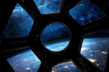 Wall Mural - Earth and star in spaceship window porthole. Elements of this image furnished by NASA